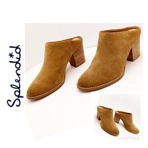 {Splendid} Carmel Suede Stacked Heel Mules